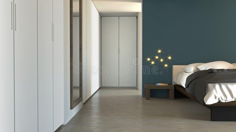 Спальня в современном стиле с шкафами и мебелью Квартира, архитектурноакустический проект бесплатная иллюстрация