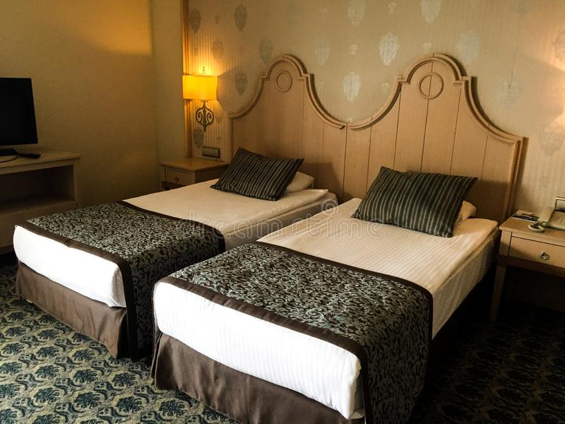 Спальня интерьера гостиницы стоковое фото rf