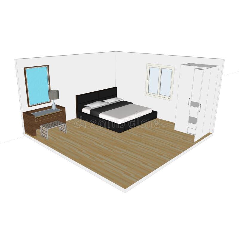 Спальня модельное 3D бесплатная иллюстрация