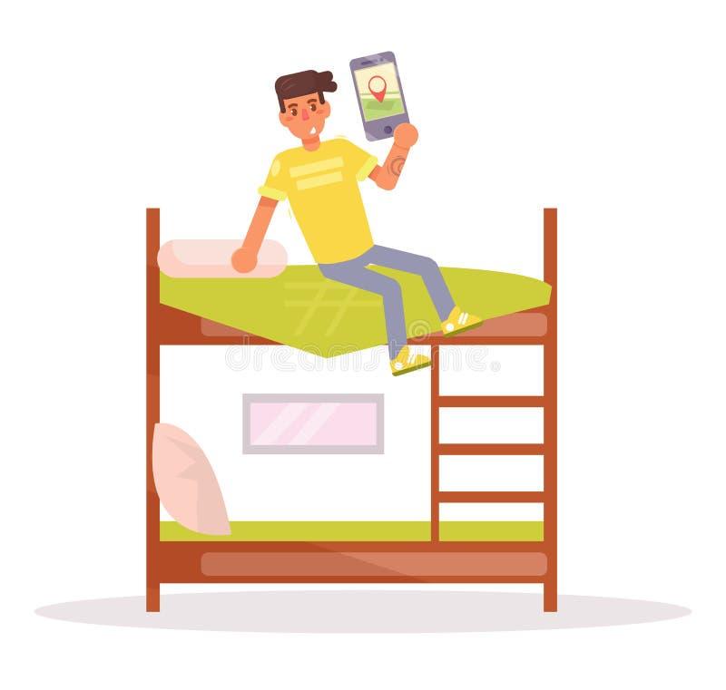 Спальня, общежитие вектор шарж иллюстрация штока