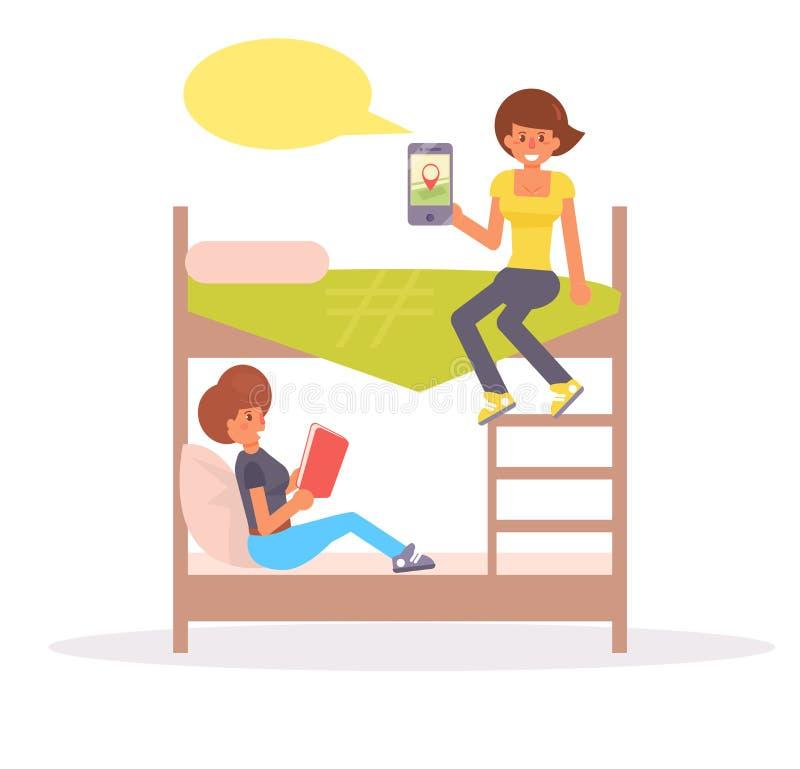Спальня, общежитие вектор шарж I иллюстрация штока
