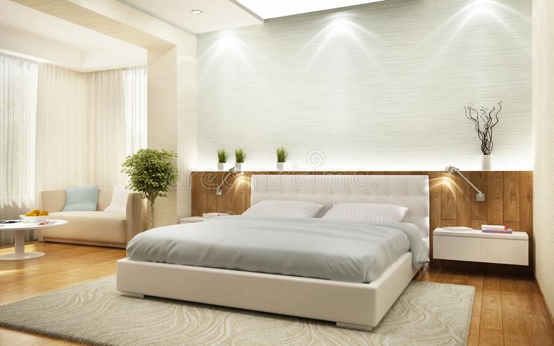 Спальня современного дизайна в большом доме бесплатная иллюстрация