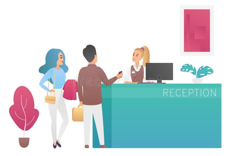 Спарите путешественников туристов стоя на приемной и говоря к гостям людей администратора женщины на лобби гостиницы иллюстрация вектора