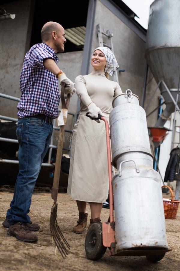 Спарите фермеров с консервными банками молока стоковая фотография