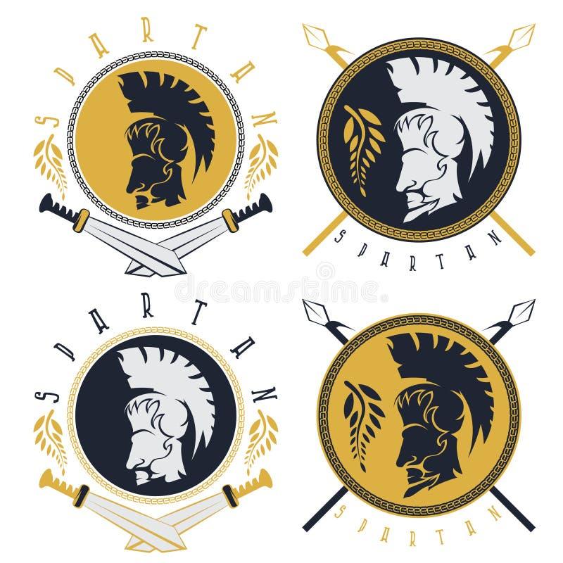 Спартанские копья ратника, шпаги и ярлыки ve экрана винтажные иллюстрация штока