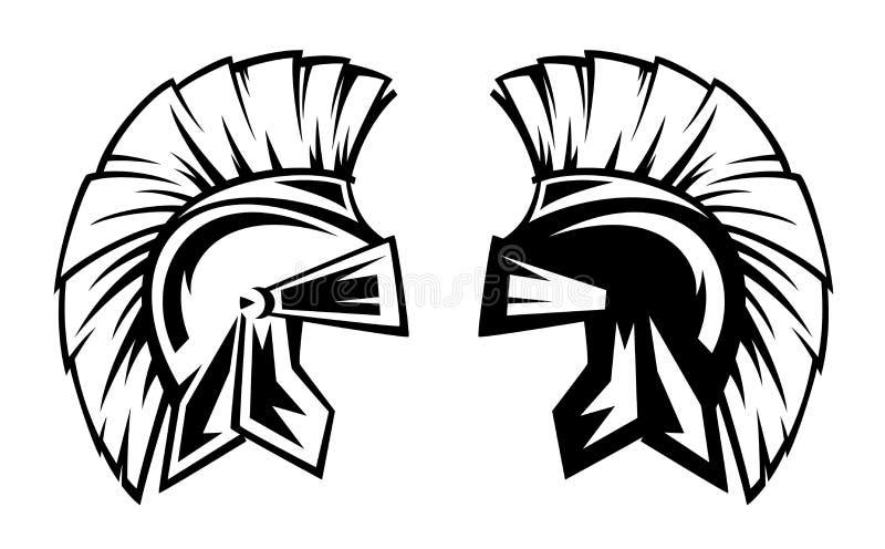 Спартанский дизайн вектора черноты шлема воина бесплатная иллюстрация