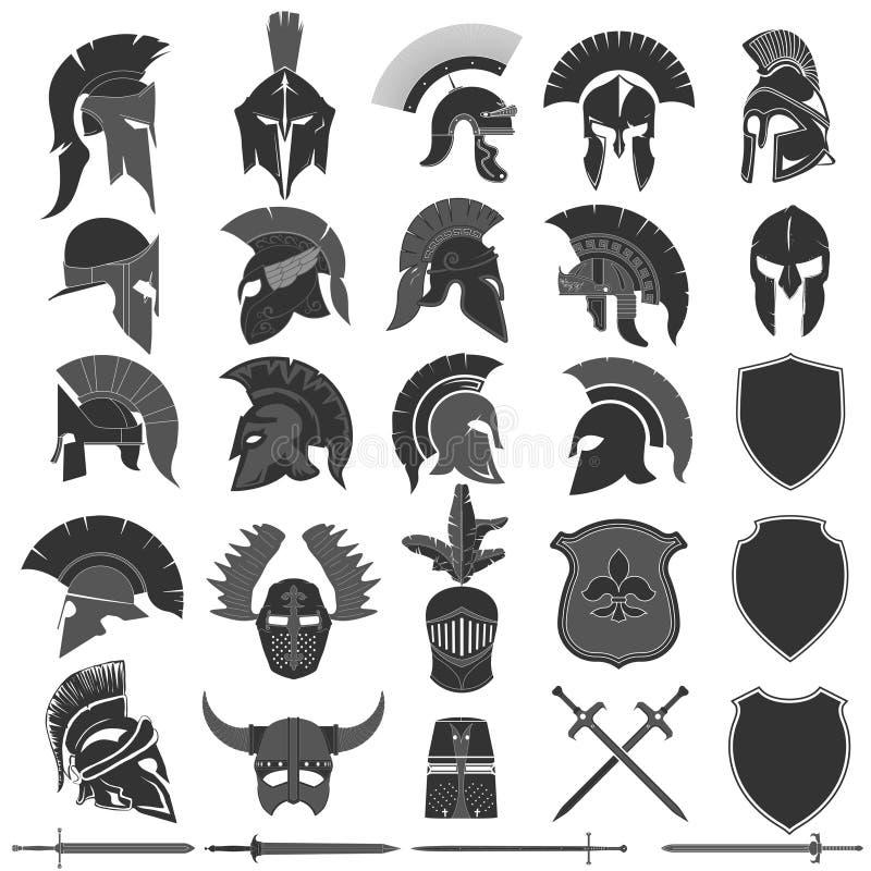 Спартанский набор логотипа шлема, греческий воин Спартанский шлем воина иллюстрация вектора