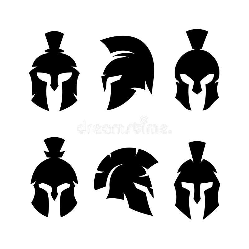 Спартанский набор логотипов эмблем воина шлема r иллюстрация штока