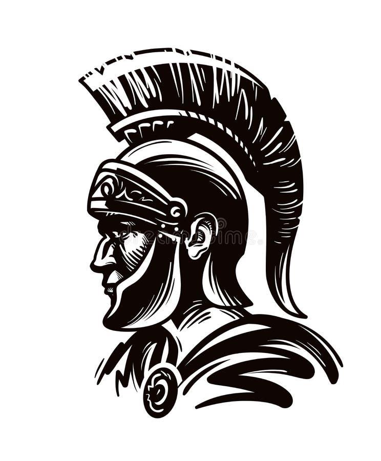 Спартанский ратник, гладиатор или римский солдат также вектор иллюстрации притяжки corel иллюстрация вектора