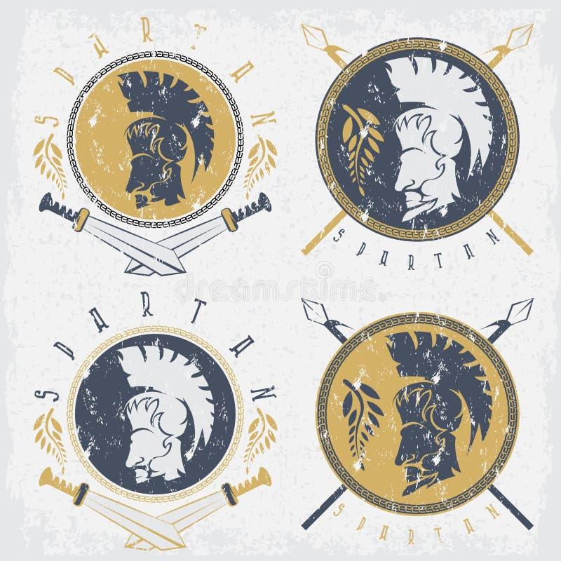 Спартанский ратник с, шпаги и Ла года сбора винограда grunge экрана бесплатная иллюстрация