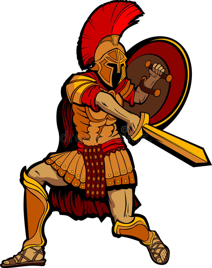 Спартанский талисман стоя с шпагой и экраном иллюстрация штока