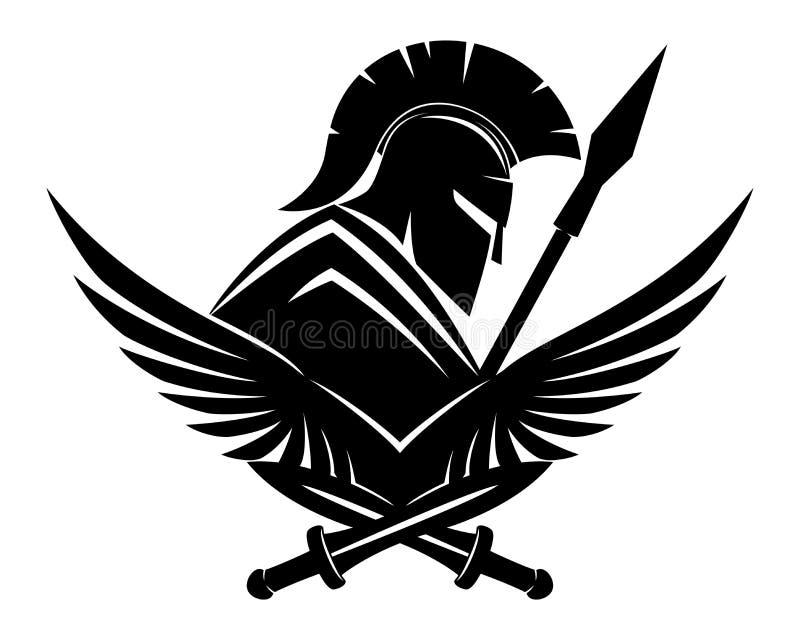 Спартанский черный знак иллюстрация вектора