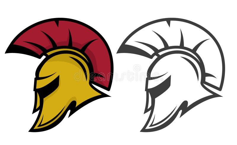 Спартанский шлем ратника Шаблон эмблемы спортивной команды стоковые фотографии rf
