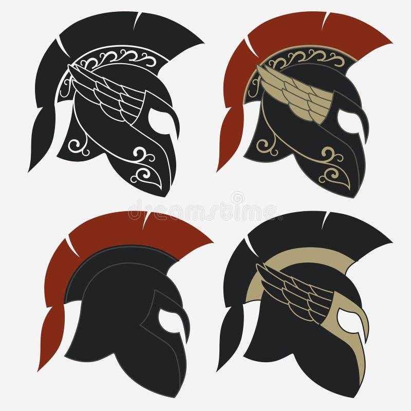 Спартанский шлем ратника иллюстрация штока