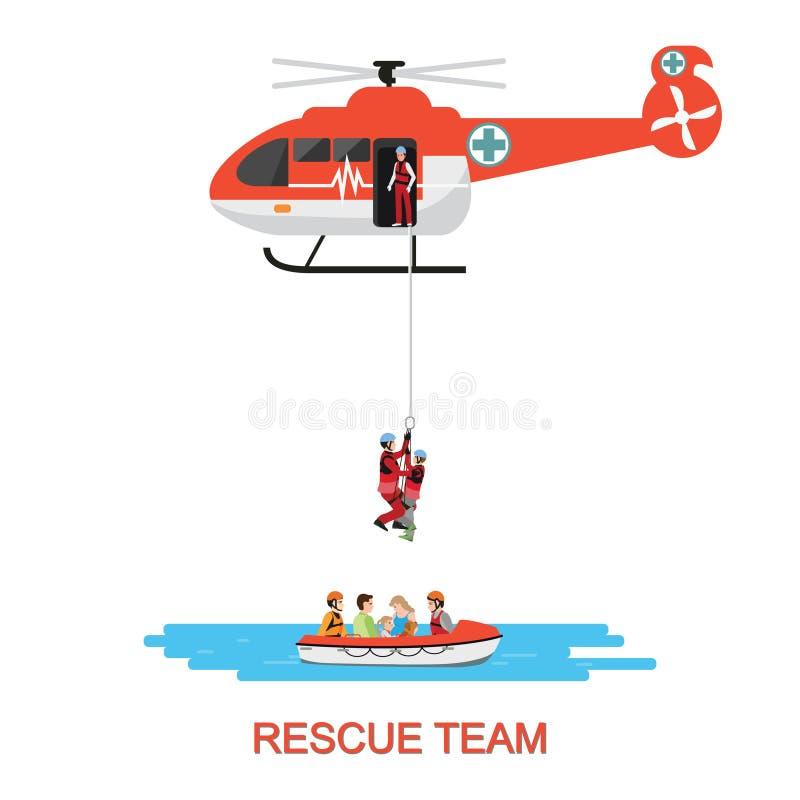Спасательная команда с спасением вертолета и шлюпки спасения иллюстрация вектора