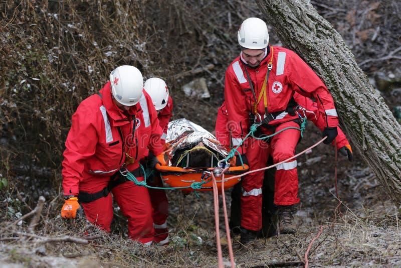 Спасательная служба горы медсотрудников стоковая фотография
