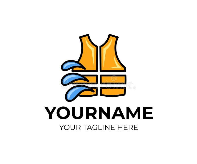 Спасательный жилет всадника и помощь пловучести, с падениями воды, шаблон логотипа Куртка и пловучесть поплавка возлагают помощь, иллюстрация штока