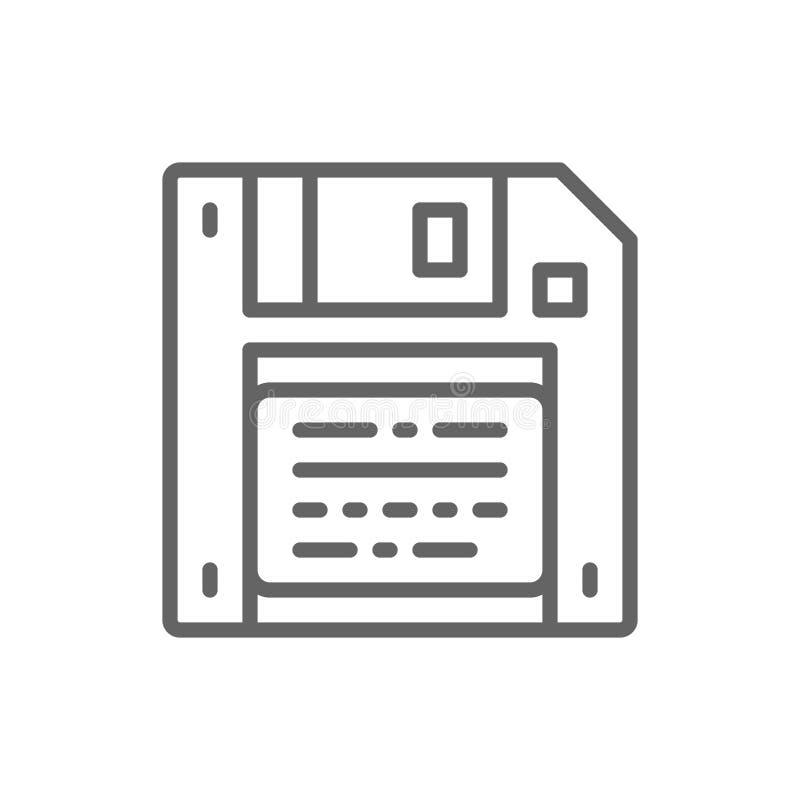 Спасение вектора, дискет, линия значок неповоротливого диска иллюстрация вектора