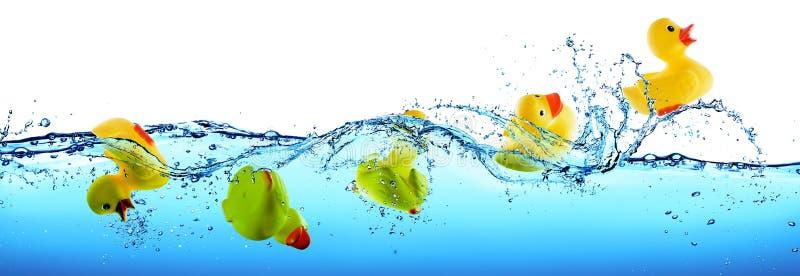 Спасение и концепция помощи - резиновая утка тонуть и плавая стоковое фото rf