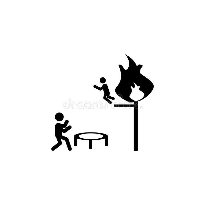 Спасение пожарного от значка огня Значок элемента пожарного иллюстрация вектора