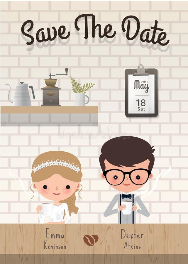 Спасение свадьбы кофе пар карточка приглашения даты иллюстрация штока