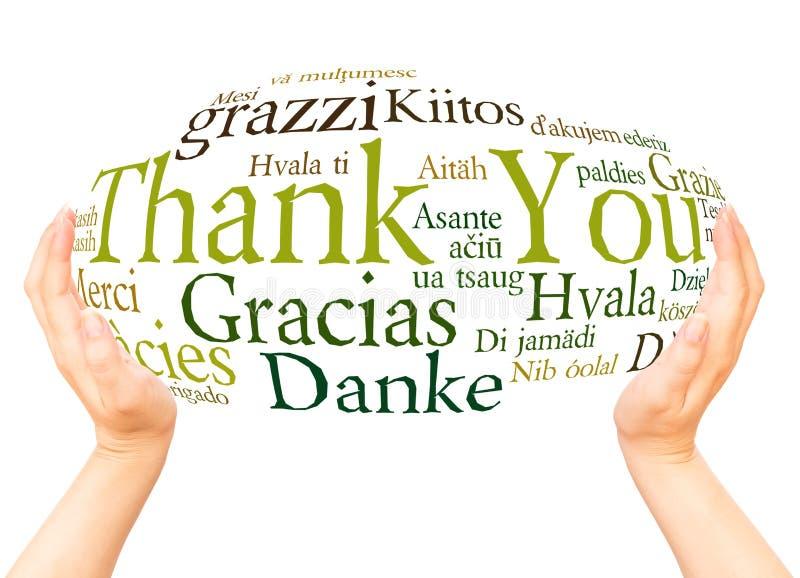 Спасибо в различной сфере руки языков стоковые изображения rf