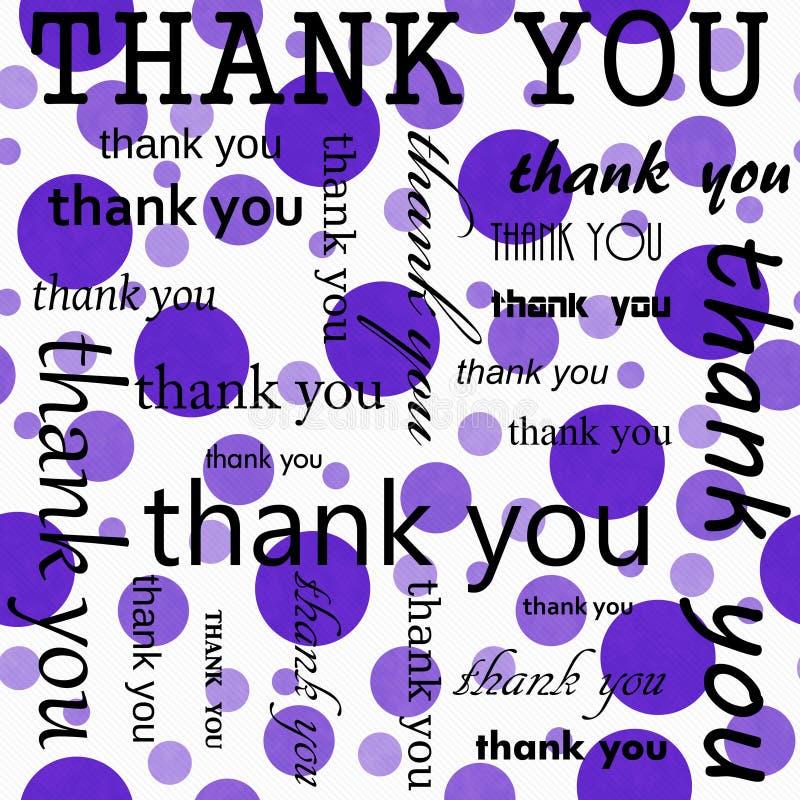Спасибо дизайн с предпосылкой пурпура и белых польки точки плитки картины повторения иллюстрация штока