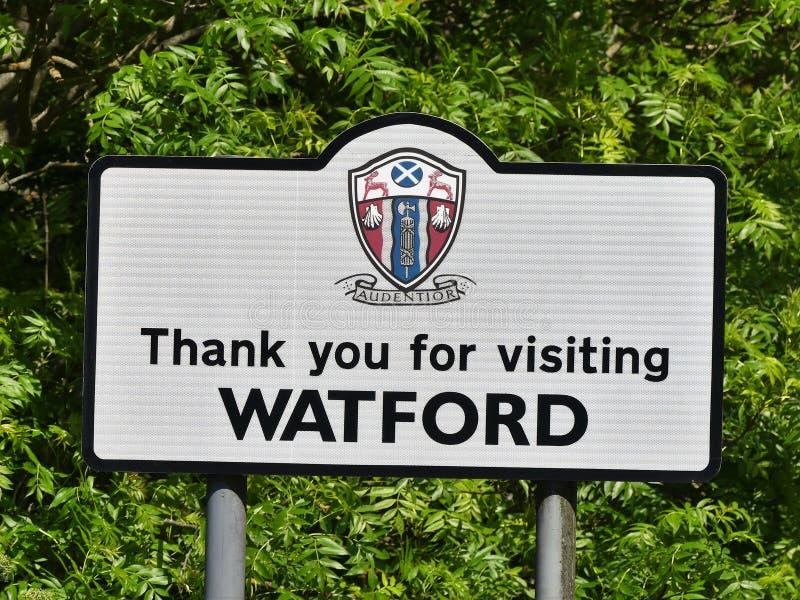 Спасибо для посещения дорожного знака Уотфорда стоковое изображение rf