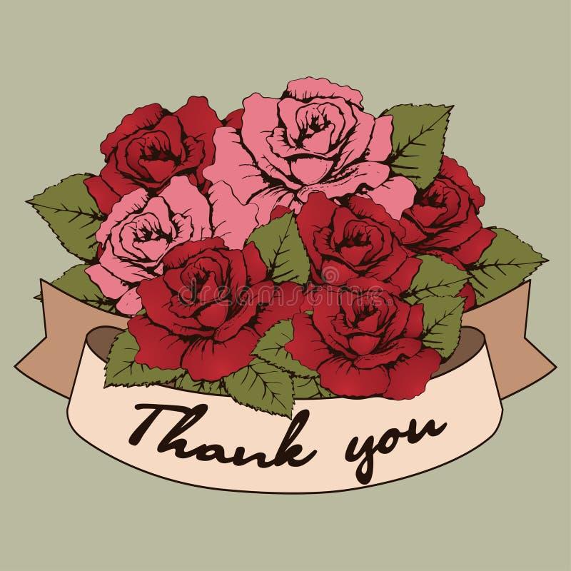 Спасибо знамя, винтажный букет роз цветет с изогнутой лентой для вашего текста Поздравительная открытка, приглашение, опознавание бесплатная иллюстрация