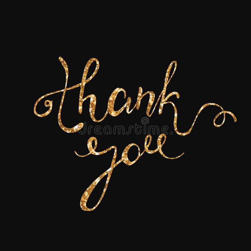 Спасибо дизайн карточки яркого блеска золота Дизайн текста вектора шикарный Спасибо нарисованная рукой литерность каллиграфическо иллюстрация вектора