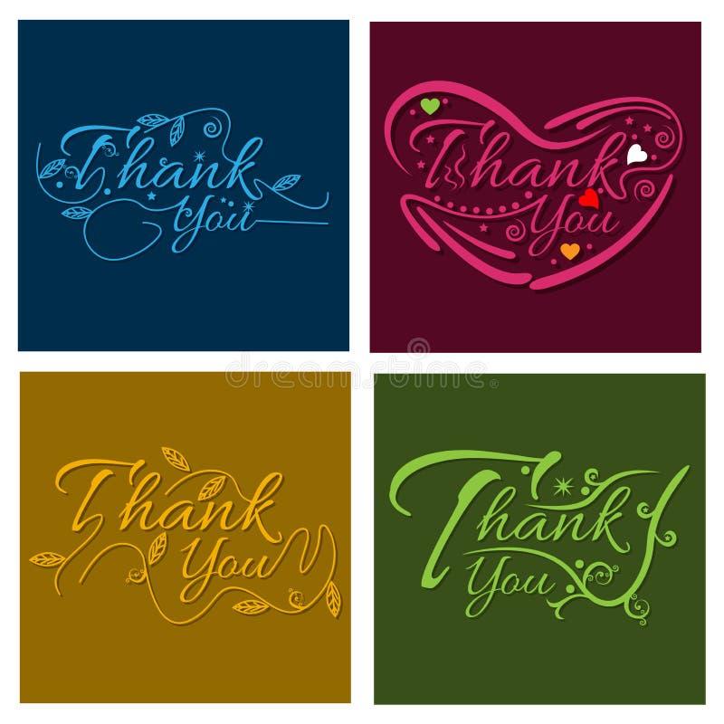 Спасибо литерность руки, шаблон визитной карточки также вектор иллюстрации притяжки corel бесплатная иллюстрация