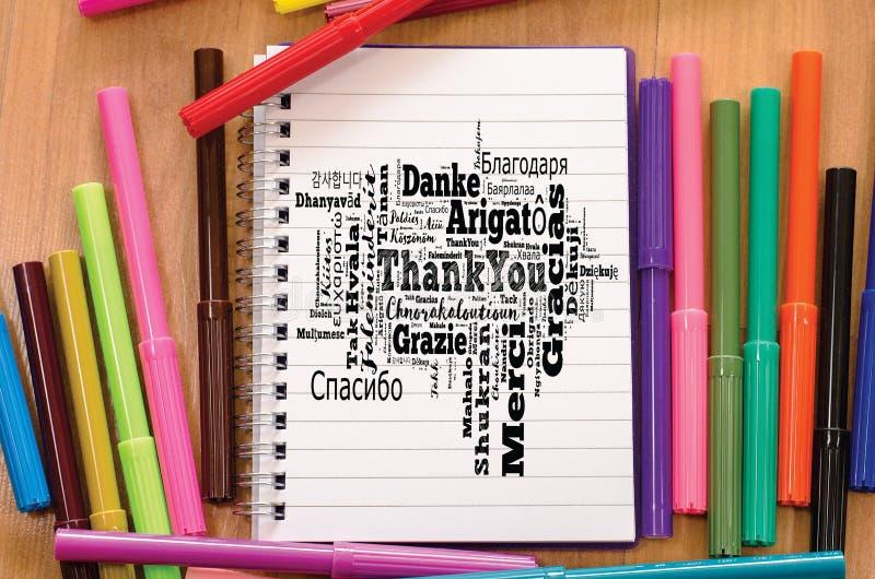 Спасибо облако слова в различных языках стоковая фотография
