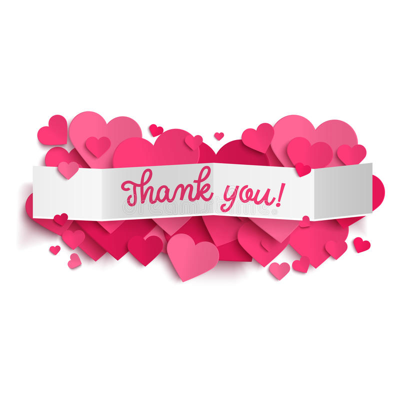 Спасибо отправьте СМС на знамени белой бумаги и розовых сердцах стоковые изображения rf
