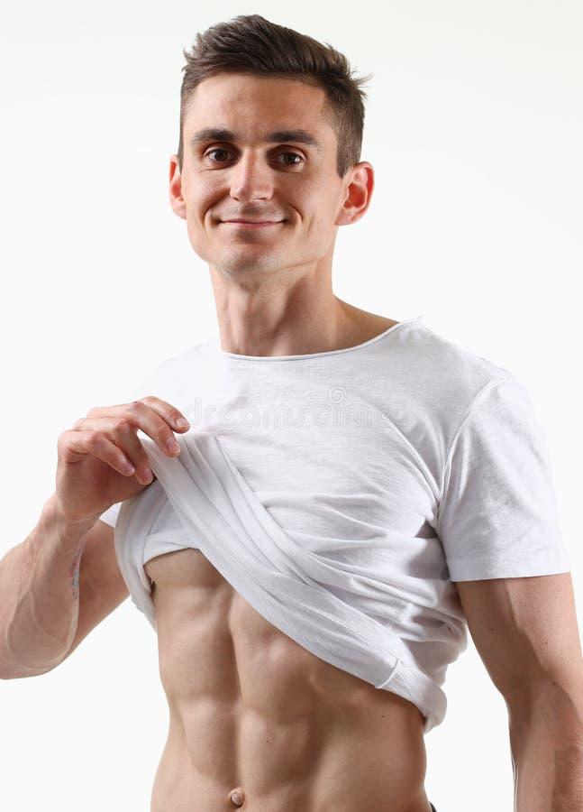 Спасибо прессы ` s сильных людей диета и постоянн рубашка белизны тренировки стоковое фото rf