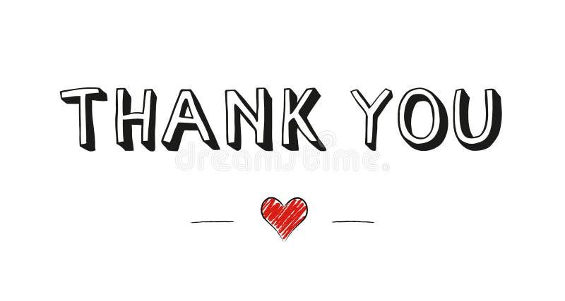 Спасибо рукописный текст с милым маленьким красным сердцем doodle стоковые фото