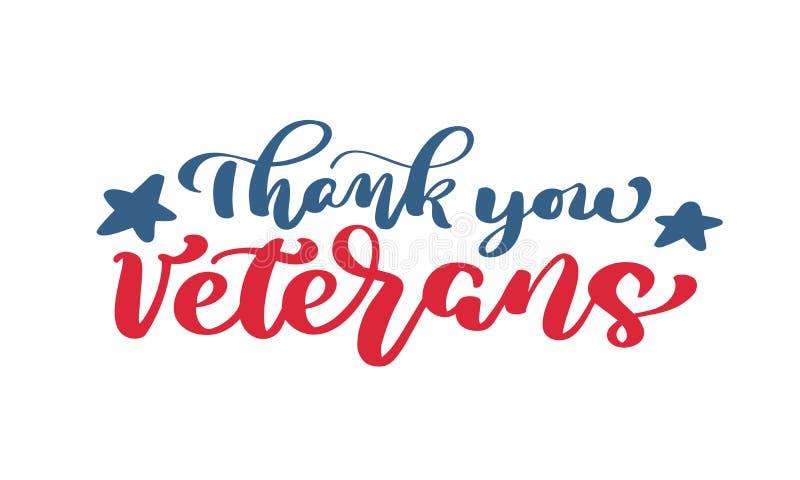 Спасибо текст ветеранов Карточка вектора литерности руки каллиграфии Национальная американская иллюстрация праздника Праздничный  иллюстрация штока