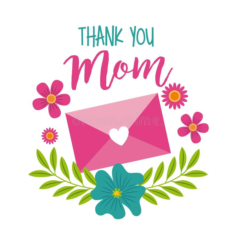 Спасибо украшение конверта сообщения мамы флористическое иллюстрация штока