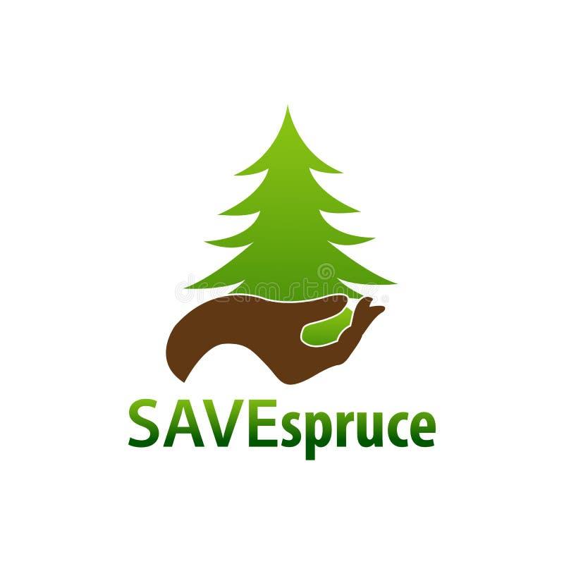 Спасительный спрус Рука иллюстрации и елевый шаблон дизайна концепции логотипа значка бесплатная иллюстрация