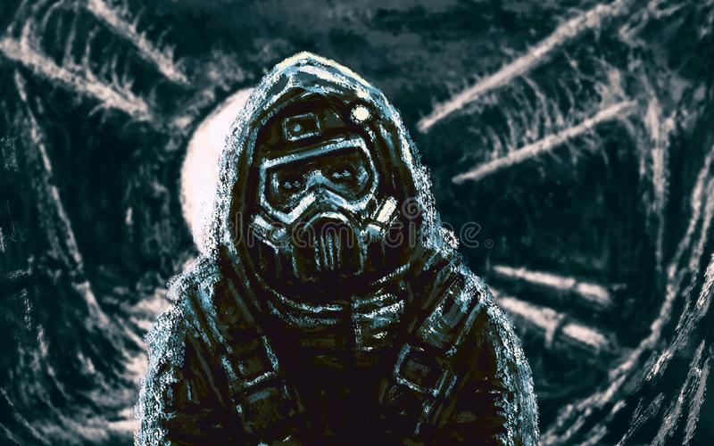 Спаситель в маске противогаза Зона инфекции иллюстрация вектора