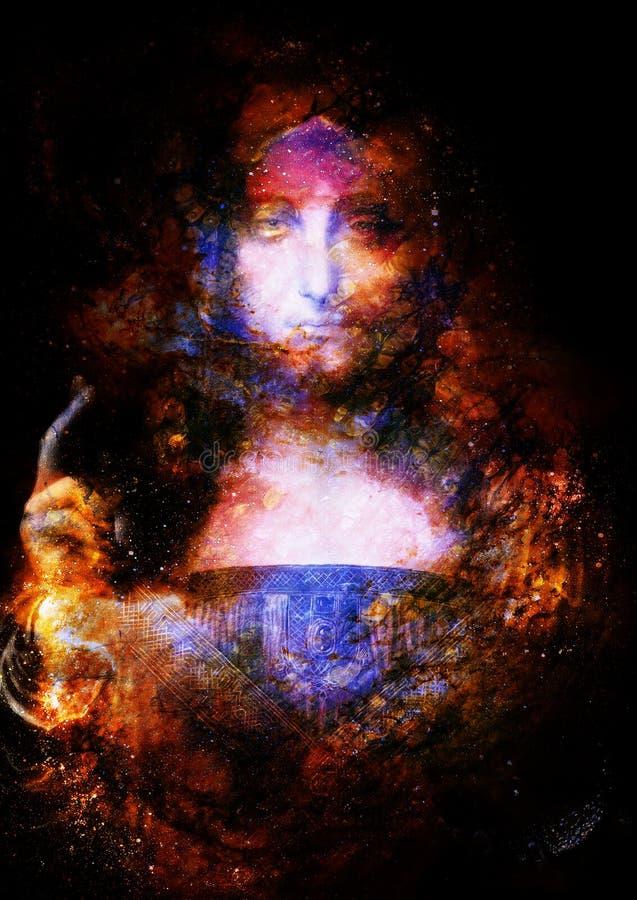 Спаситель мира Mundi Сальвадора Мое собственное воспроизводство картины Леонардо Да Винчи Космический коллаж космоса стоковые изображения