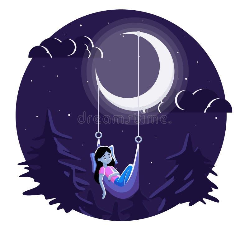 Спать девушка под луной стоковая фотография rf