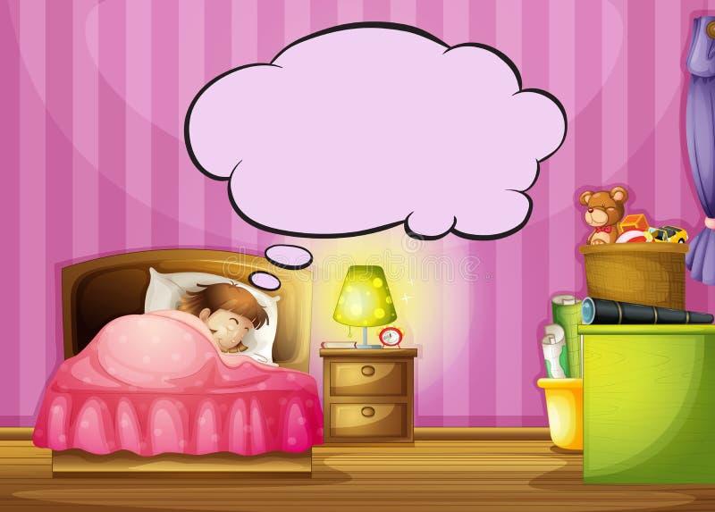 Спать девушка и пузырь речи иллюстрация штока