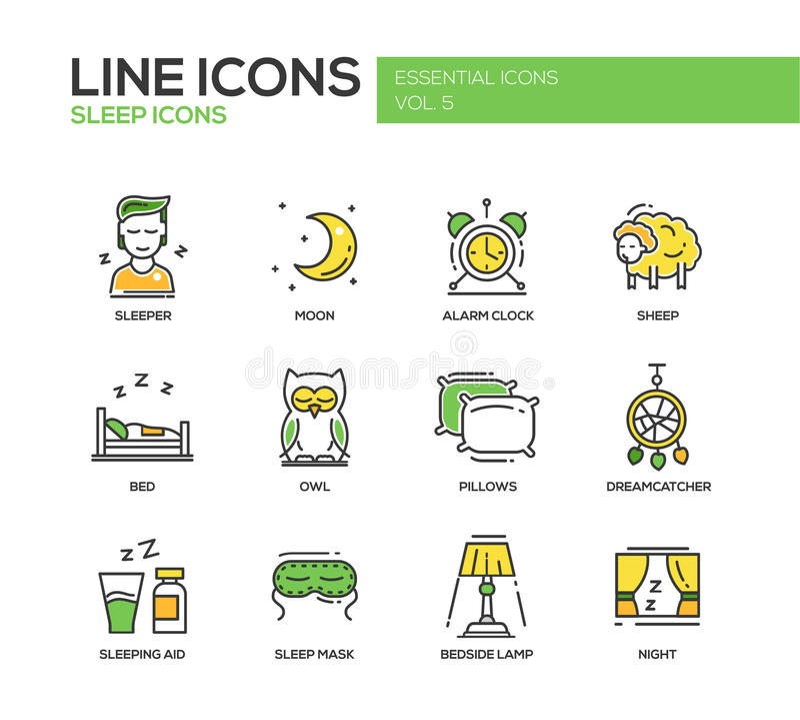 Спать - линия установленные значки дизайна бесплатная иллюстрация