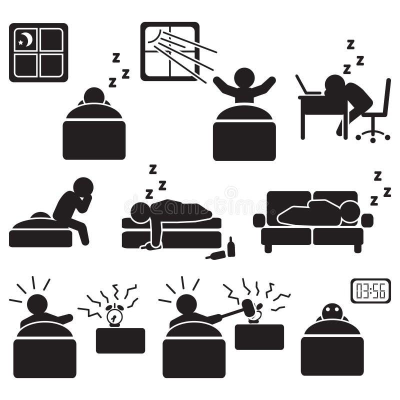 Спать и сон связали комплект значка Вектор спать людей иллюстрация вектора