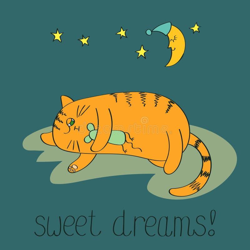 спать кота милый иллюстрация вектора