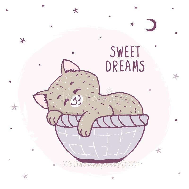 Спать котенка шаржа бесплатная иллюстрация