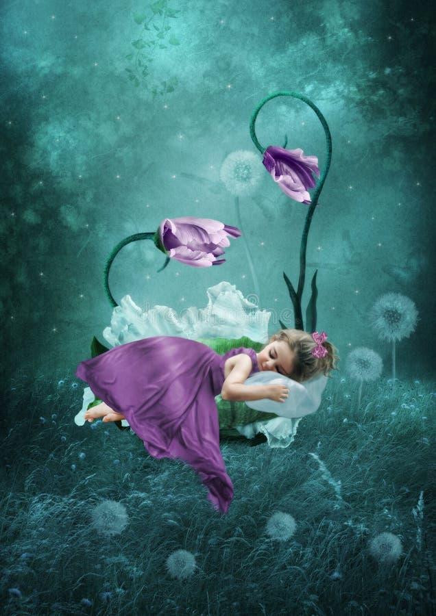 Спать маленькая девочка стоковые фотографии rf