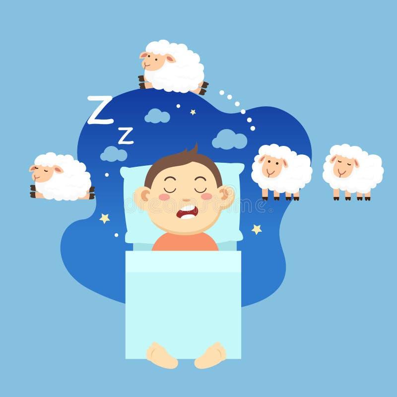 Спать мальчика, подсчитывая овец для того чтобы упасть уснувший иллюстрация штока