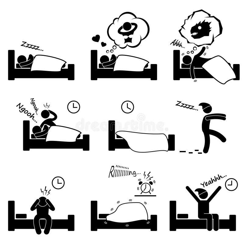 Спать мечтающ храпя инсомния просыпая вверх бесплатная иллюстрация