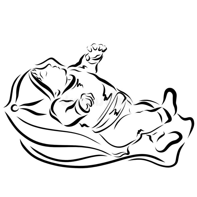 Спать младенец, младенчество, чернит эскиз иллюстрация вектора